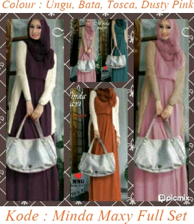 Koleksi busana muslim minda maxy full set spandek pabrik Suplier baju gamis remaja harga pabrik bandung