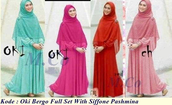 Grosir baju muslim oki maxy full set with siffone pashmina Suplier baju gamis remaja harga pabrik bandung